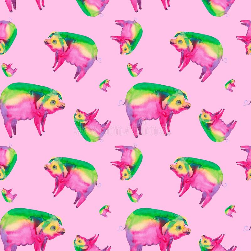 Абстрактная иллюстрация акварели пестротканой свиньи Изолировано на красной предпосылке картина безшовная иллюстрация вектора