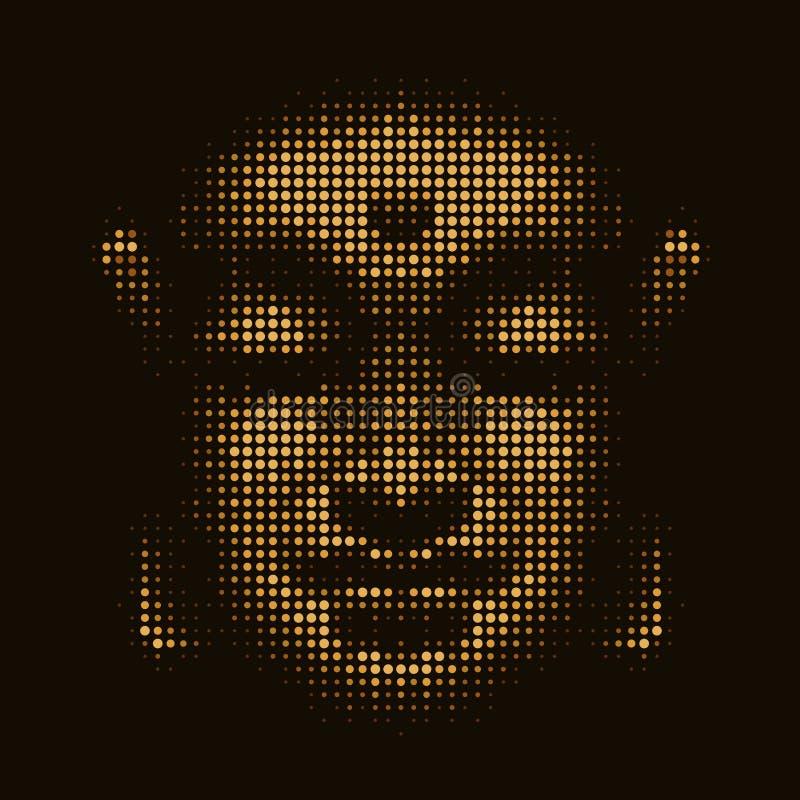Абстрактная иллюстрация Будда смотрит на с пузырями покрашенных кругов желтого золота на черном дизайне вектора текстуры предпосы бесплатная иллюстрация