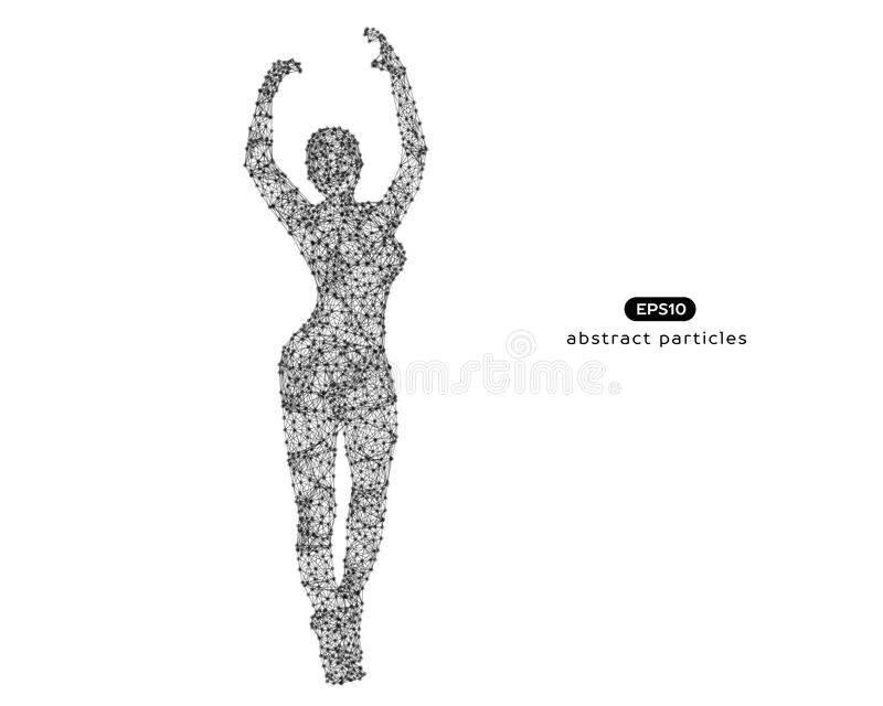 Абстрактная иллюстрация вектора женщины кибер с руками вверх иллюстрация вектора