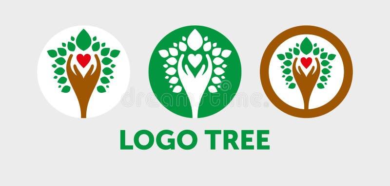 Абстрактная иллюстрация вектора логотипа дерева иллюстрация штока