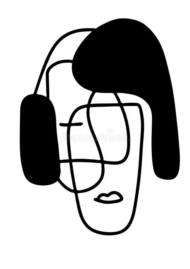 Абстрактная иллюстрация вектора портретов Линия искусство Minimalistic Элементы для открыток, печатей, ткани или логотипов иллюстрация вектора