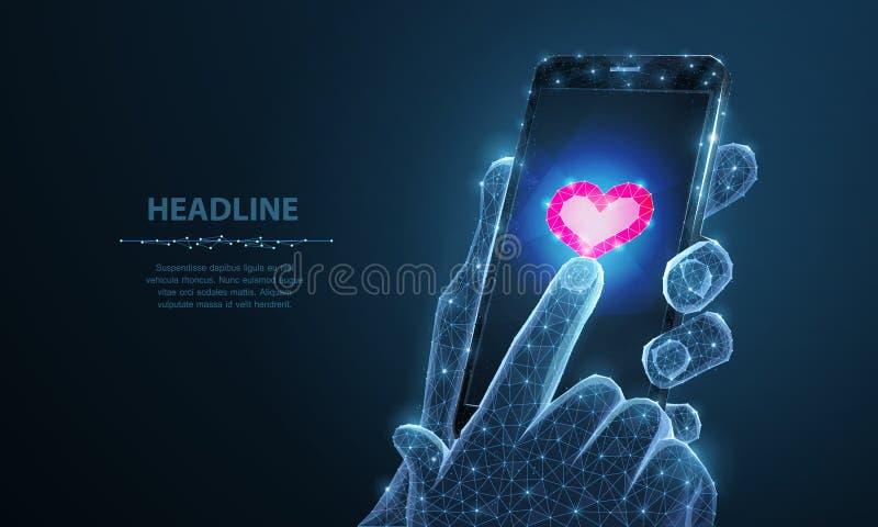 Абстрактная иллюстрация вектора приложения значка сердца смартфона Изолированная предпосылка День Валентайн, романс любов, любит иллюстрация штока