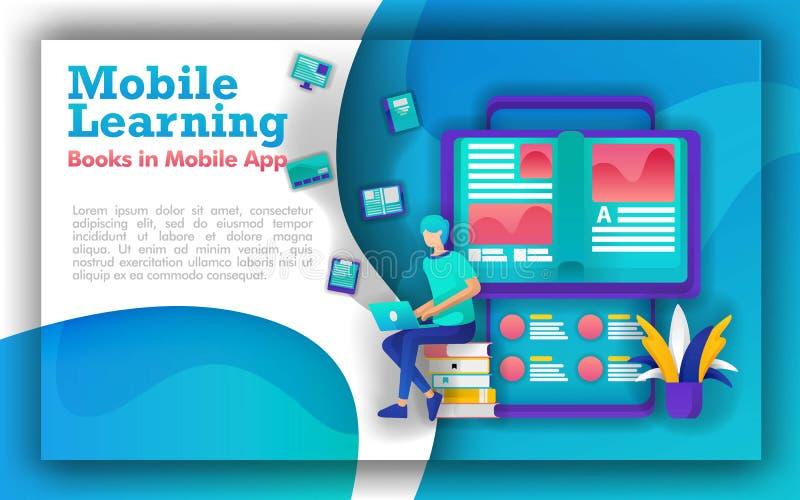 Абстрактная иллюстрация для мобильные учить и образования студенты сидят в кучах книг, книг которые приходят из смартфона Онлайн бесплатная иллюстрация