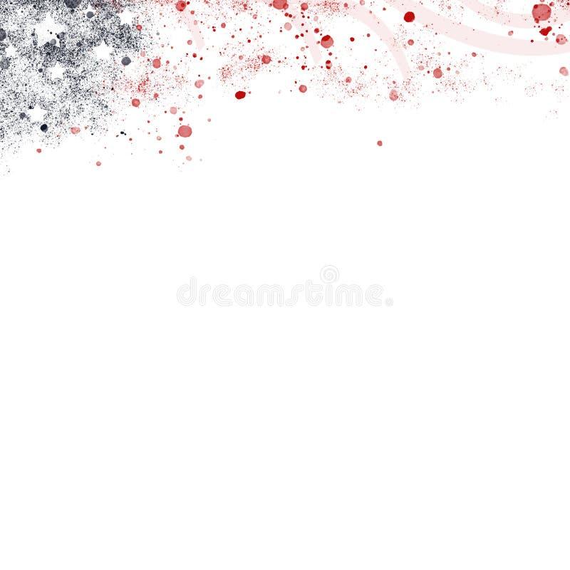 Абстрактная иллюстрация заголовка цветов флага Соединенных Штатов с государственным флагом США в стиле цвета воды иллюстрация вектора