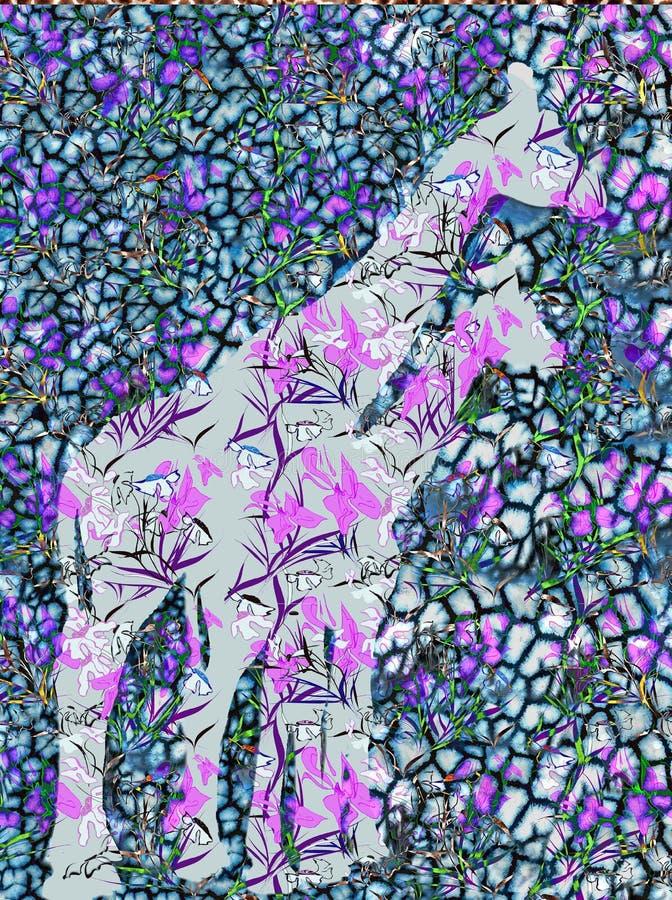 Абстрактная иллюстрация картины жирафа и животных безшовной Co стоковое изображение
