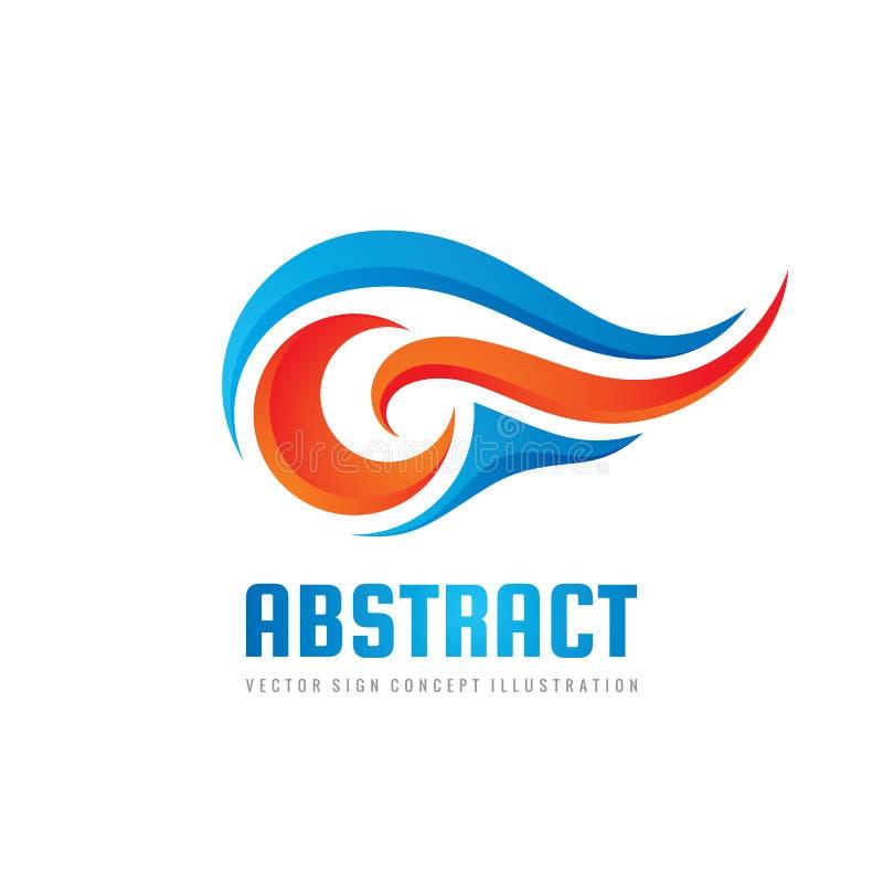 Абстрактная иллюстрация концепции шаблона логотипа вектора Волны открытого моря и пламена красного огня Элемент дизайна энергии п иллюстрация вектора