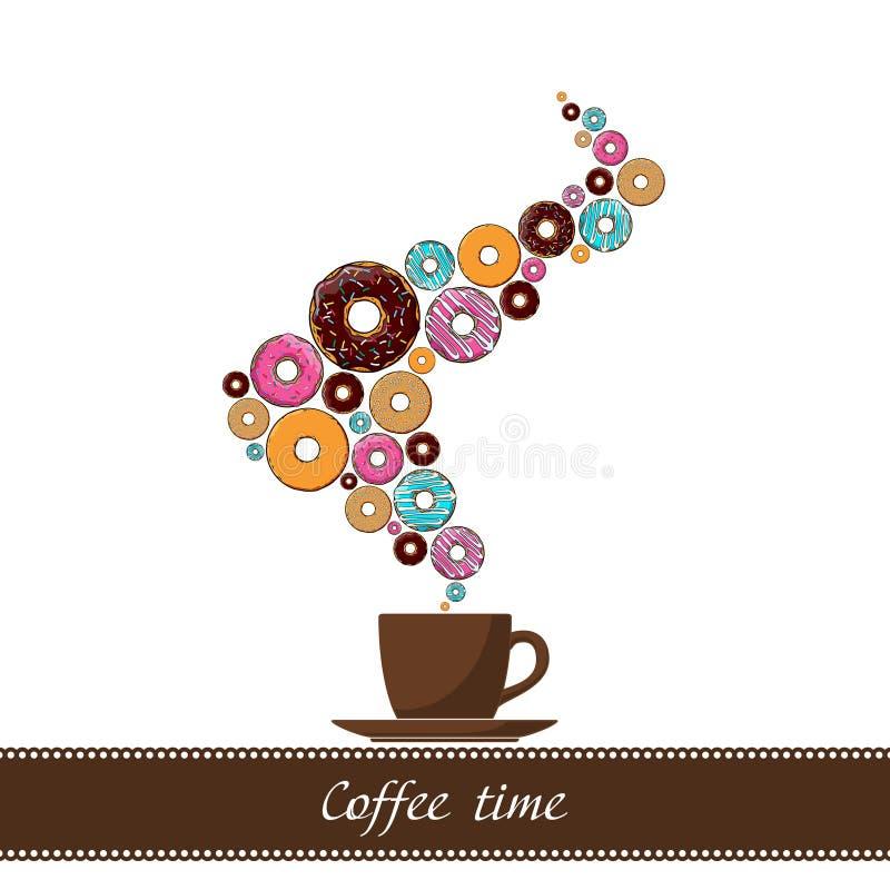 Абстрактная иллюстрация кофе-чашки с донутом. иллюстрация вектора