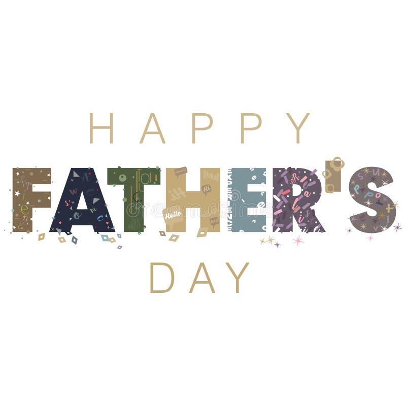 Абстрактная иллюстрация на счастливом тексте дня ` s отца с типографскими элементами дизайна иллюстрация штока