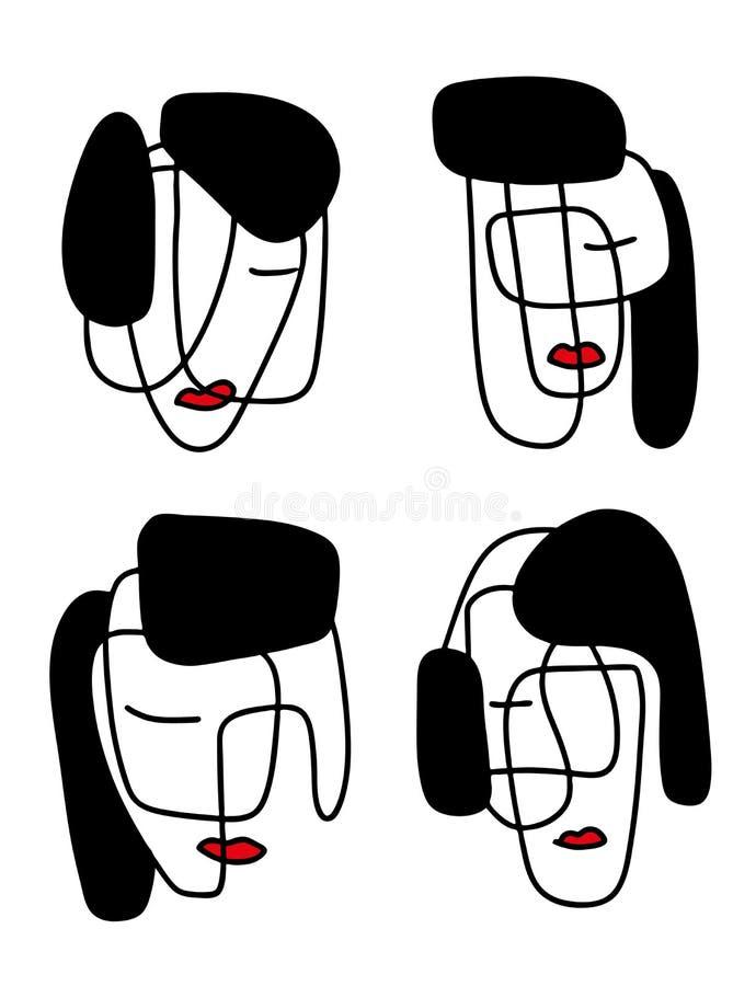 Абстрактная иллюстрация портретов Линия искусство Minimalistic Элементы для открыток, печатей, ткани или логотипов иллюстрация вектора