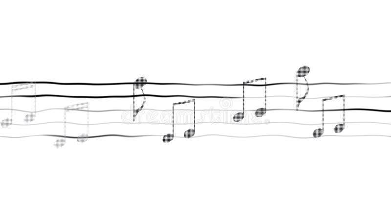 Абстрактная иллюстрация примечаний на листе, составляя app музыки, белой предпосылки стоковые фотографии rf