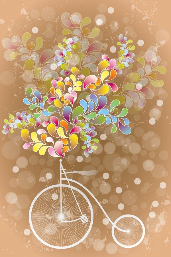Абстрактная иллюстрация ретро велосипеда и красочных форм иллюстрация штока