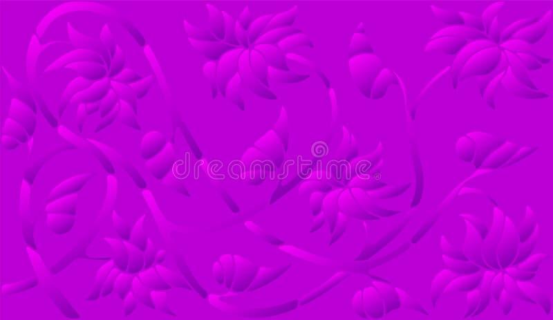 Абстрактная иллюстрация с абстрактными цветками, пурпурное полутоновое изображение, горизонтальная ориентация бесплатная иллюстрация