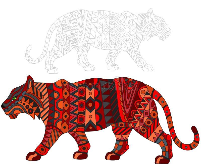 Абстрактная иллюстрация с красным тигром, котом и покрашенный своему плану на белой предпосылке, изоляте иллюстрация вектора