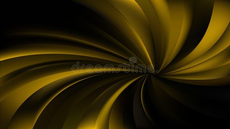 Абстрактная иллюстрация черных и золота спиральная лучей предпосылки вектора бесплатная иллюстрация