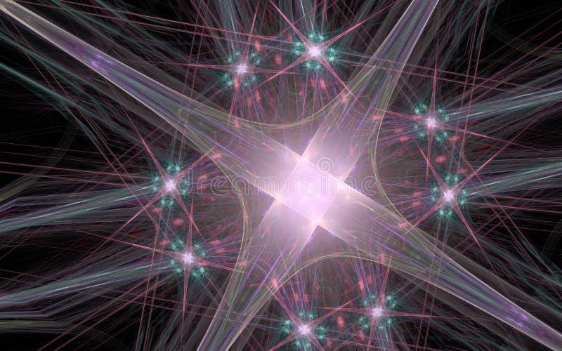Абстрактная иллюстрация яркой розовой звезды цвета с накаляя серединой и сериями лучей на черной предпосылке бесплатная иллюстрация