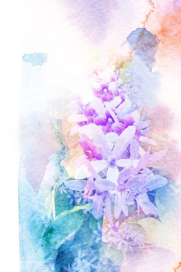 Абстрактная иллюстрация акварели венка пурпура цветения иллюстрация штока