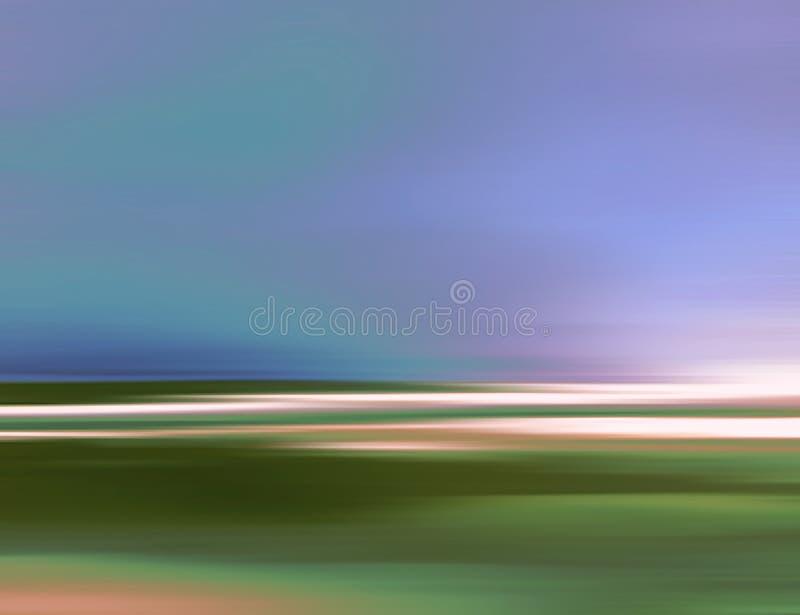 Абстрактная иллюстрация ландшафта цифров с небом, пляжем и океаном в голубых зеленых цветах бесплатная иллюстрация