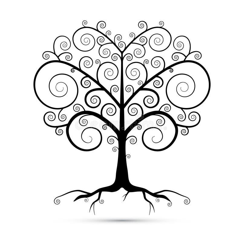 Абстрактная иллюстрация дерева черноты вектора иллюстрация вектора