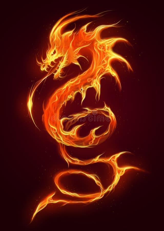 абстрактная иллюстрация пожара дракона конструкции черноты предпосылки иллюстрация вектора