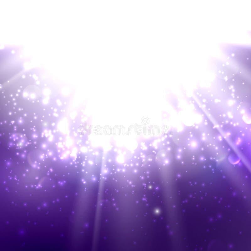 Абстрактная иллюстрация световых лучей на глубоком - пурпур иллюстрация штока