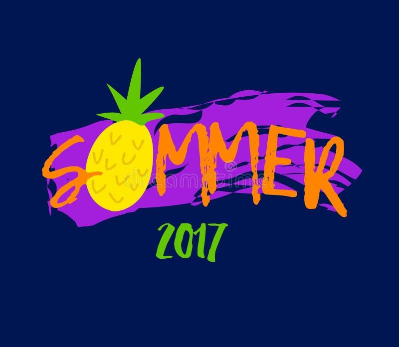 Абстрактная иллюстрация с ананасом лета и шаржа текста на фиолетовой предпосылке Печать для футболок вектор иллюстрация штока