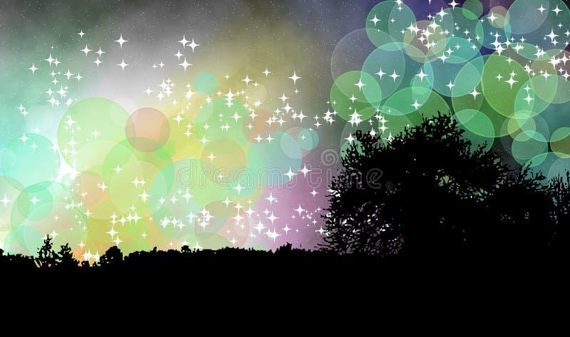 Древесина в волшебной ноче иллюстрация вектора