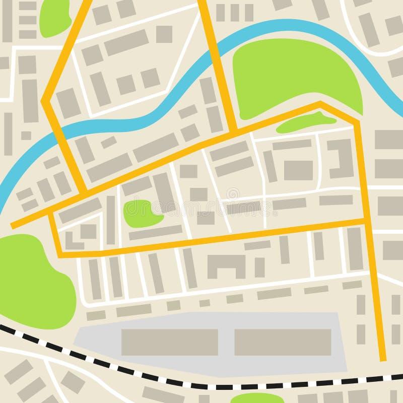 Абстрактная карта города с дорогами расквартировывает парки и реку Улицы городка на плане Взгляд сверху иллюстрация вектора