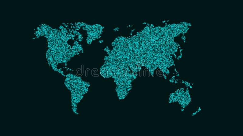Абстрактная карта земли планеты Карта малых круглых частиц голубого цвета Малые точки Прозрачные шарики иллюстрация вектора