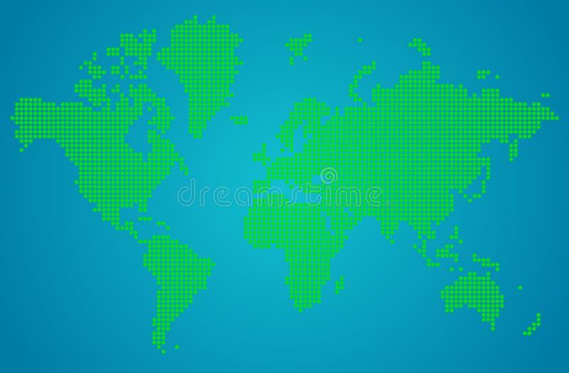 Абстрактная карта мира зеленых круглых точек иллюстрация вектора