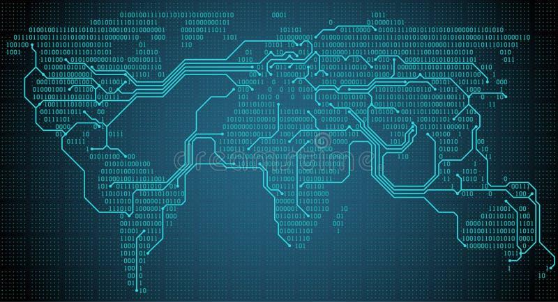 Абстрактная карта мира с цифровыми бинарными континентами, городами и соединениями в форме платы с печатным монтажом иллюстрация вектора