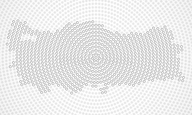 Абстрактная карта радиальных точек, концепция Турции полутонового изображения иллюстрация вектора