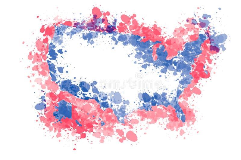 Абстрактная карта Соединенных Штатов Америки с краской брызгает бесплатная иллюстрация
