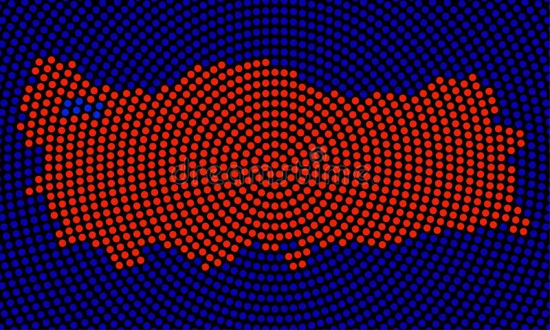 Абстрактная карта Турции радиальных точек иллюстрация штока