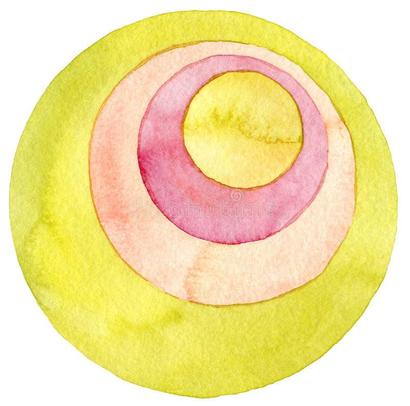 Абстрактная картина акварели круга иллюстрация штока