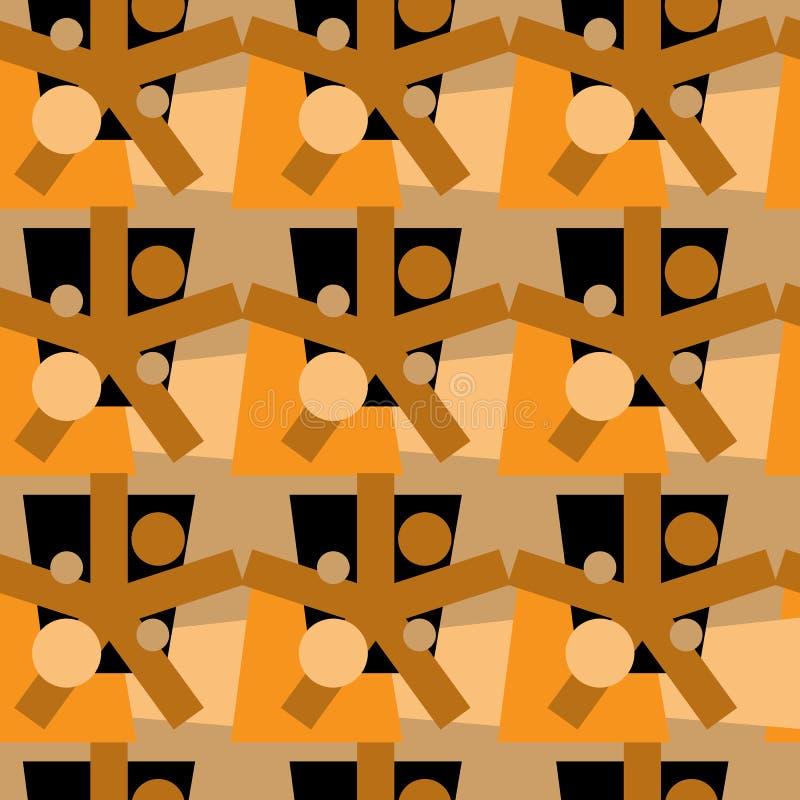 абстрактная картина безшовная Безшовная картина с кругами, звездами и овалами Золотые коричневые и желтые геометрические формы бесплатная иллюстрация