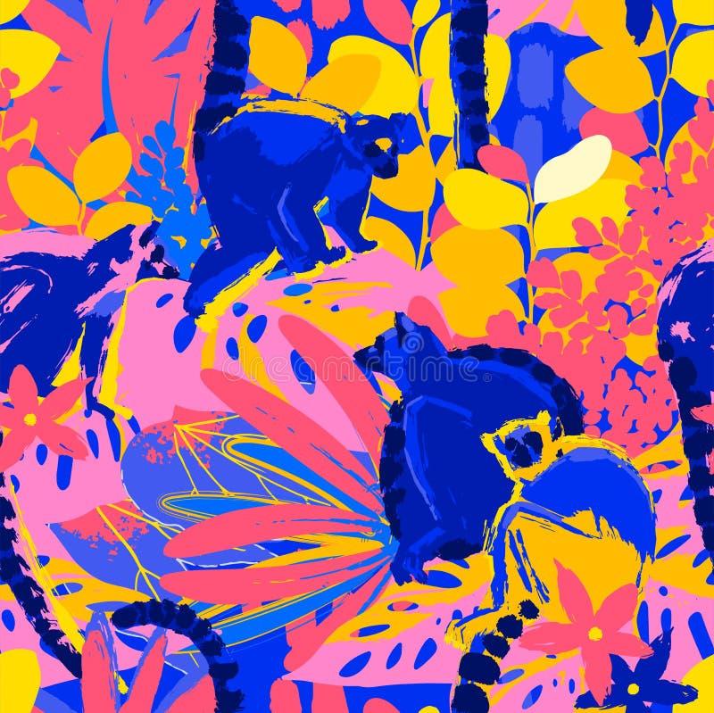 Абстрактная картина вектора диких лемуров сидя среди экзотических заводов иллюстрация вектора