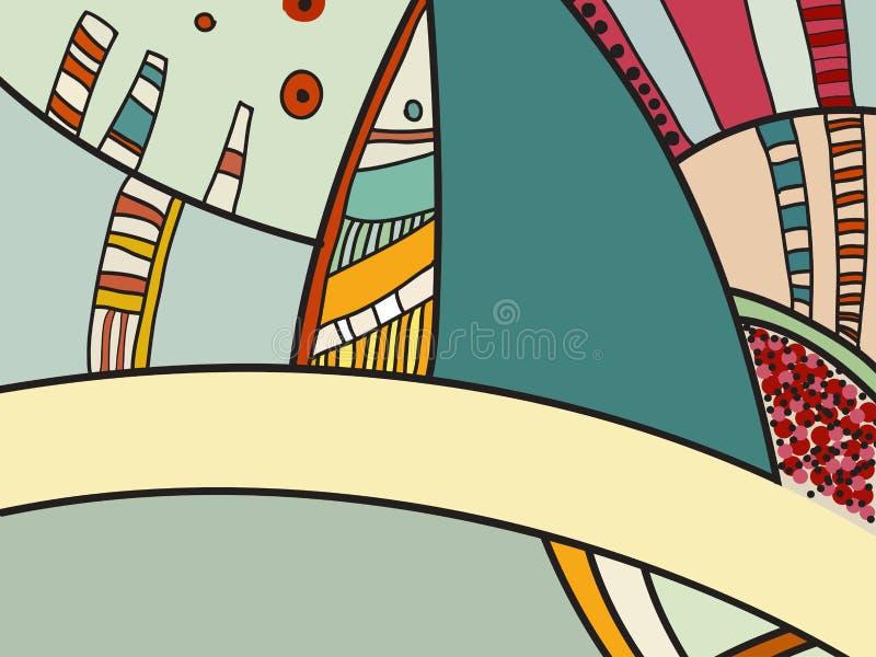 Абстрактная картина вектора, черно-белые doodles Предпосылка для плаката, открытки, фона Иллюстрация с абстрактными формами бесплатная иллюстрация