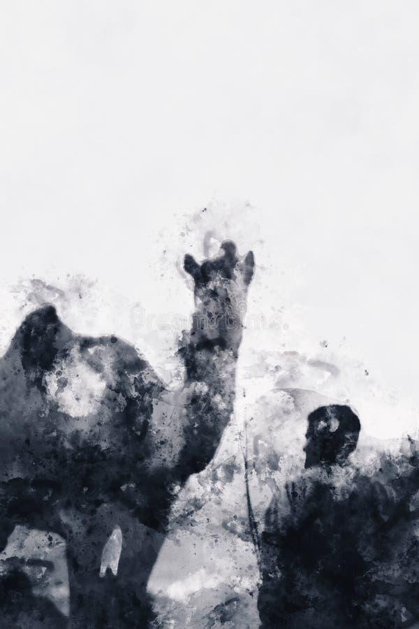 Абстрактная картина верблюда с человеком в monotone иллюстрация штока