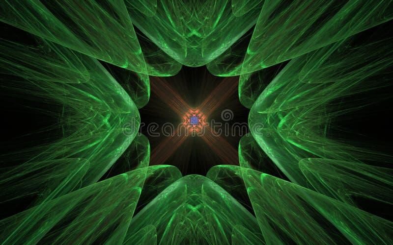 Абстрактная картина в форме зеленых рему сходясь к центру с оранжевой картиной внутрь на черной предпосылке иллюстрация штока
