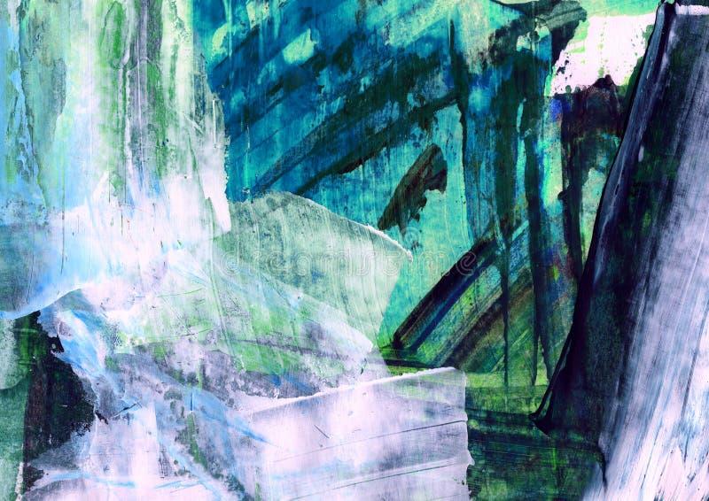 Абстрактная картина, декоративная покрашенная структура, современная картина, структура цвета, ходы щетки, пластичная картина кар иллюстрация вектора