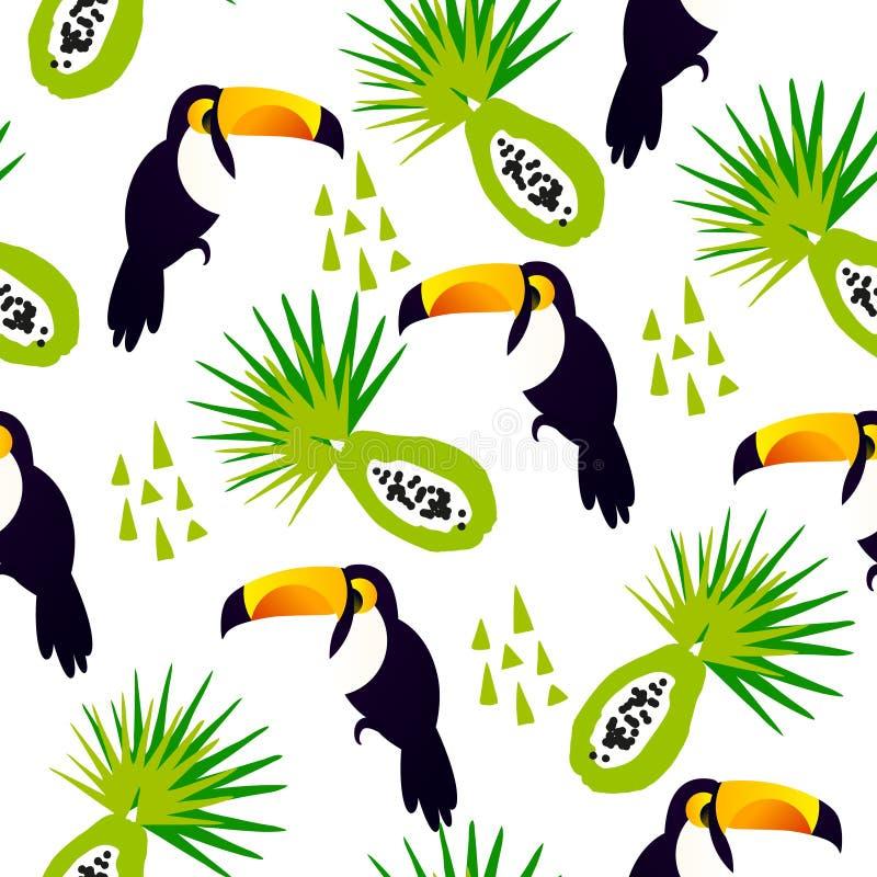 Абстрактная картина лета с милое toucan, папапайей и треугольниками на белой предпосылке Орнамент для ткани и оборачивать бесплатная иллюстрация