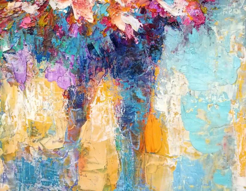 Абстрактная картина маслом текстуры на холсте стоковые фотографии rf