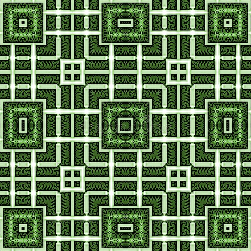 Абстрактная картина орнамента, нашивки, квадрат Зеленые, белые цвета иллюстрация штока