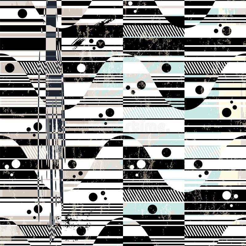 Абстрактная картина предпосылки, с волнами и нашивками, чернотой и w иллюстрация штока