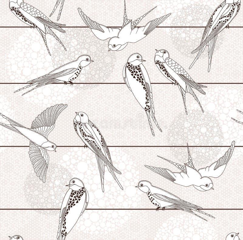 абстрактная картина птицы безшовная иллюстрация вектора