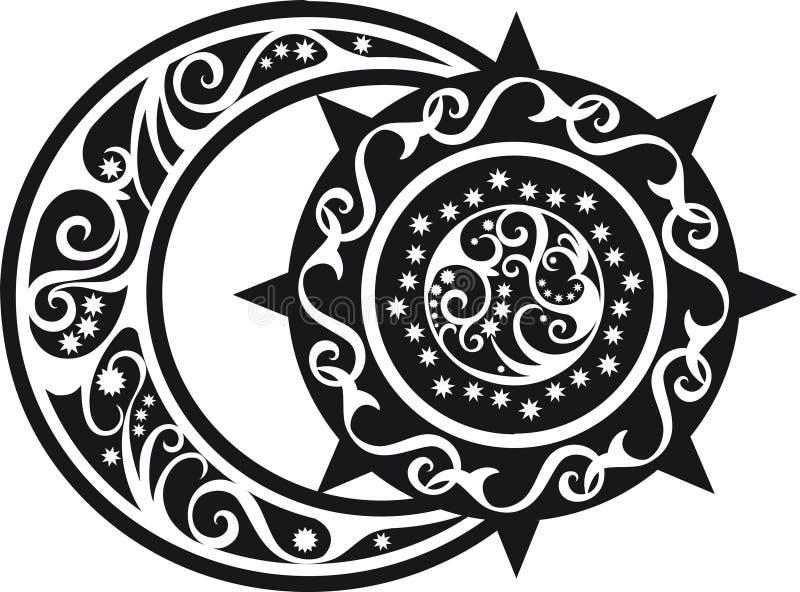 Абстрактная картина, серповидная луна и символ солнца иллюстрация вектора