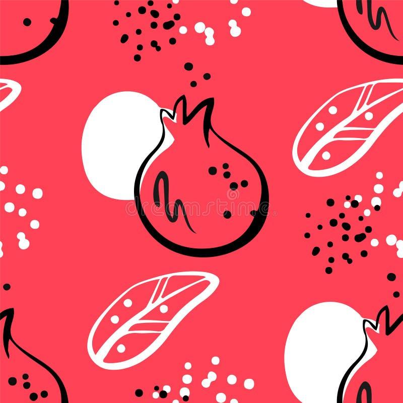 Абстрактная картина с элементами гранатового дерева и графика на красной предпосылке Орнамент для ткани и оборачивать иллюстрация вектора