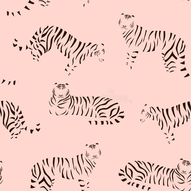 Абстрактная картина тигра безшовный вектор текстуры Ультрамодная иллюстрация бесплатная иллюстрация