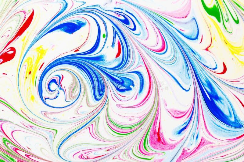 Абстрактная картина, традиционное искусство Ebru Краска чернил цвета с волнами вектор детального чертежа предпосылки флористическ стоковые фотографии rf