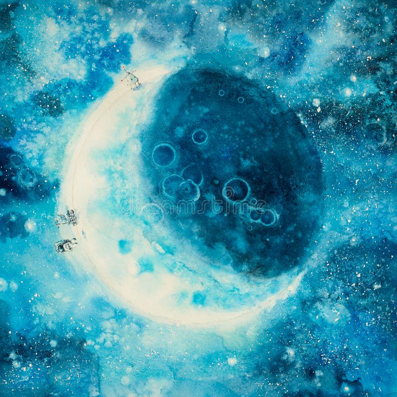 Абстрактная картина участка луны иллюстрация вектора
